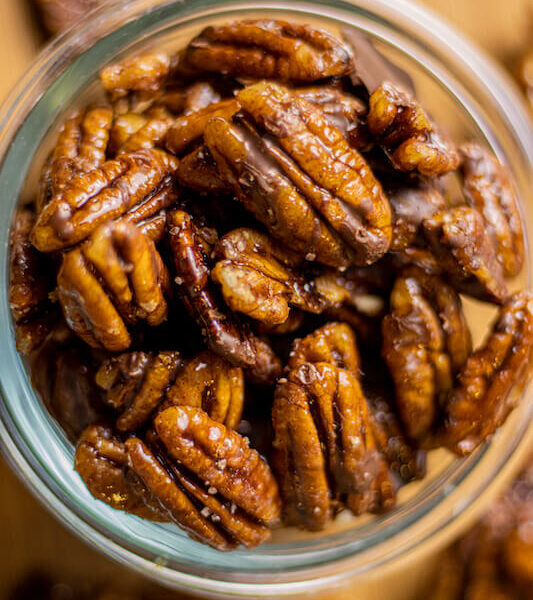 Stovetop Candied Pecans with chocolate