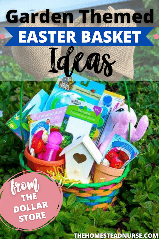easter baskets with burlap bows tied on them and garden themed fillers