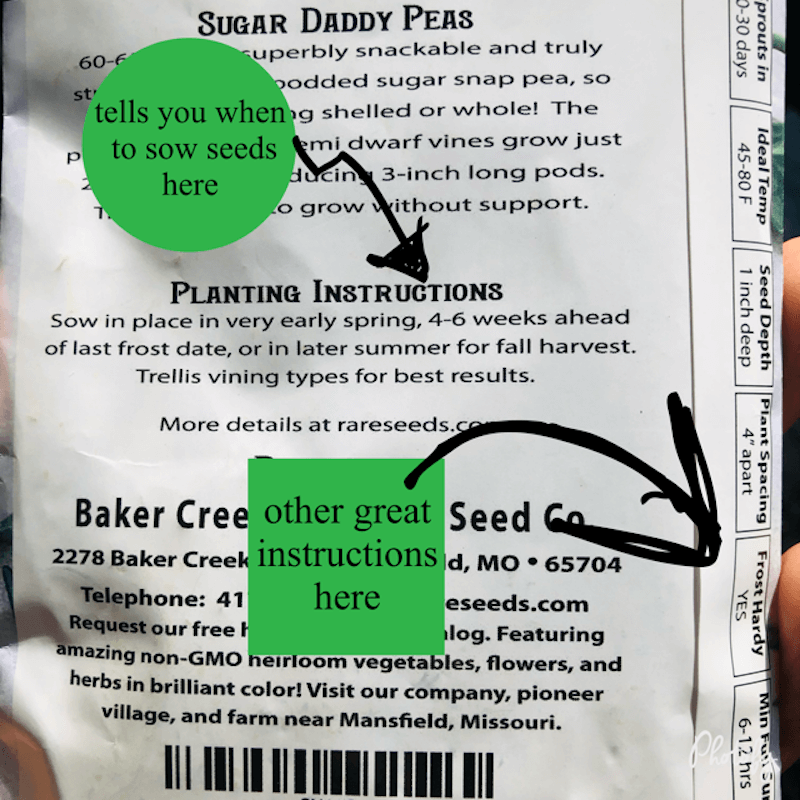 the back of a seed packet form baker creek heirloom seed company
