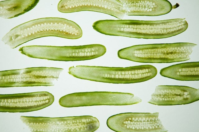 long slices of cucumbers
