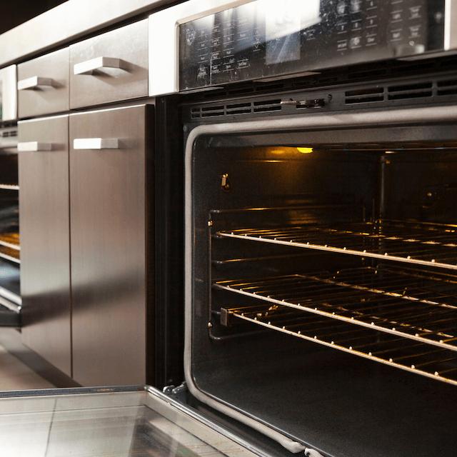 an oven door open
